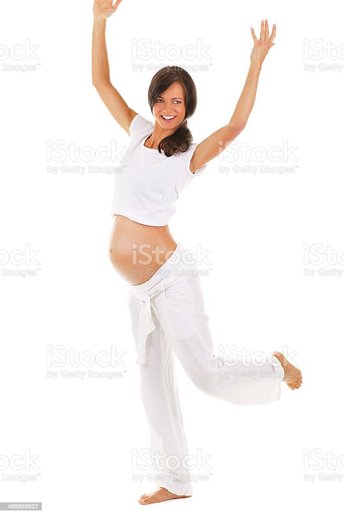 Pregnant woman dancing royalty-free stock photo