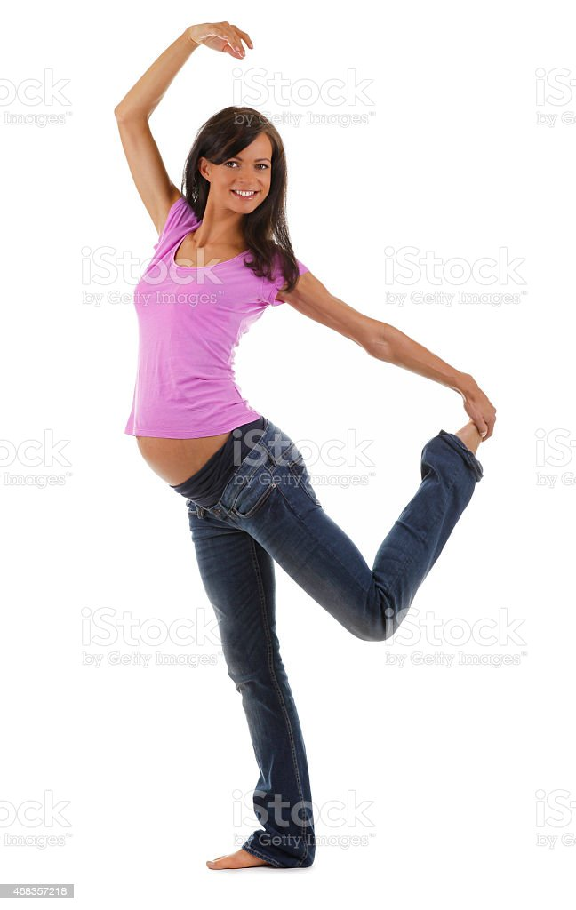 Pregnant woman dancing royalty-free stock photo