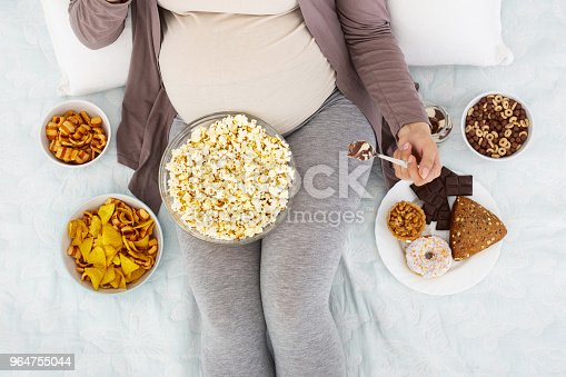 Pregnant Woman Devouring Tasty Junk Food Stock Photo & More Pictures of Abdomen