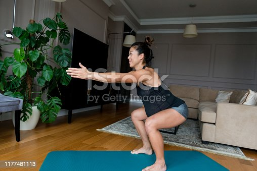 istock Pregnant woman exercises in her home 1177481113