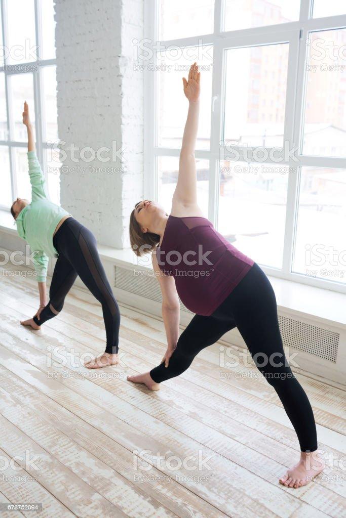 Pregnant woman exercising with coach photo libre de droits