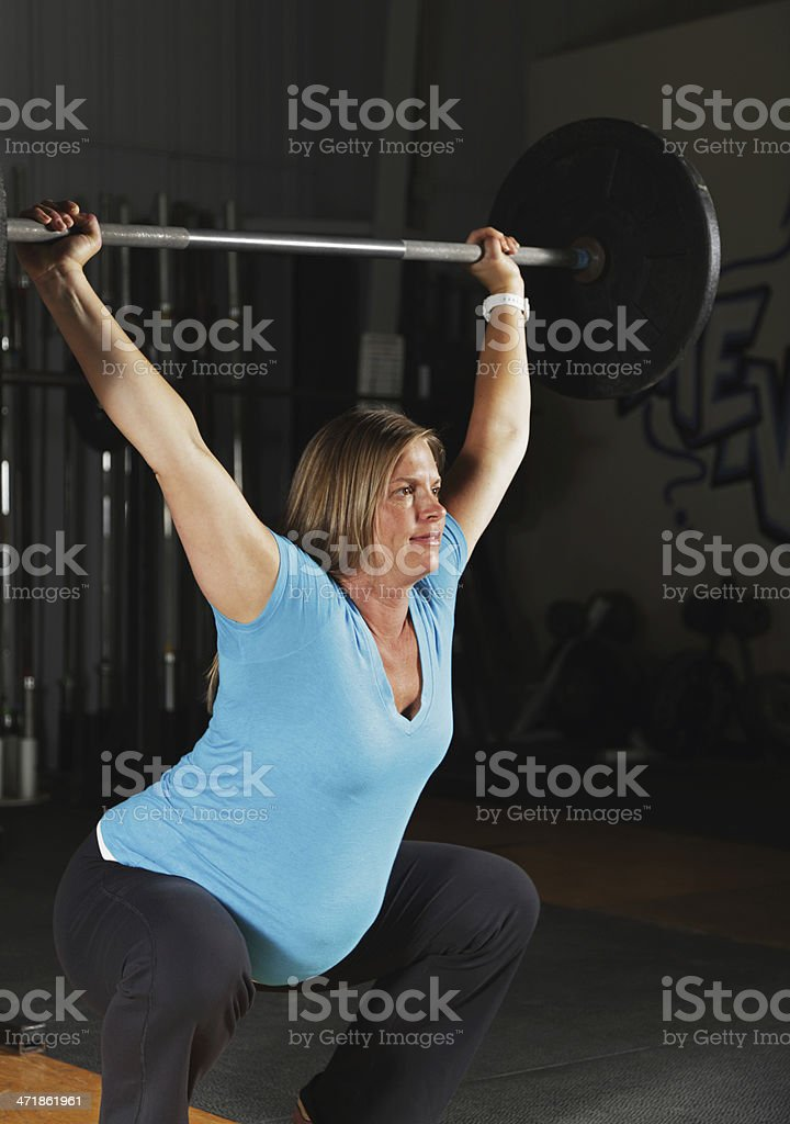 Pregnant Woman Fitness Exercise Workout Overhead Squat royalty-free stock photo