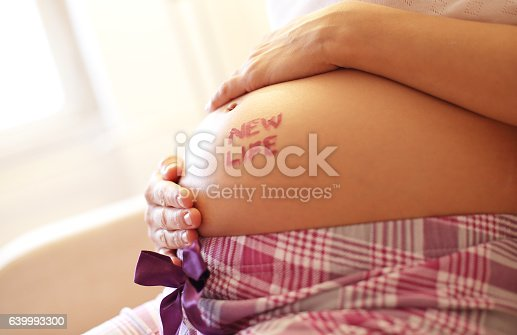 istock Pregnant woman holding her baby 639993300