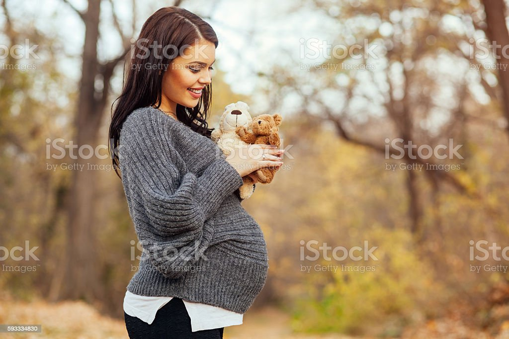 Pregnant woman in park holding  teddy bear and bunny toy stock photo