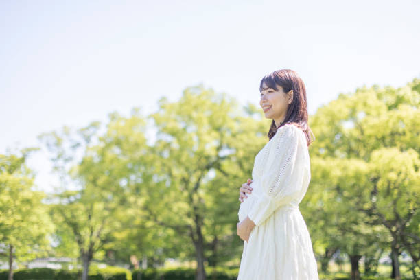 Pregnant woman in the park stock photo