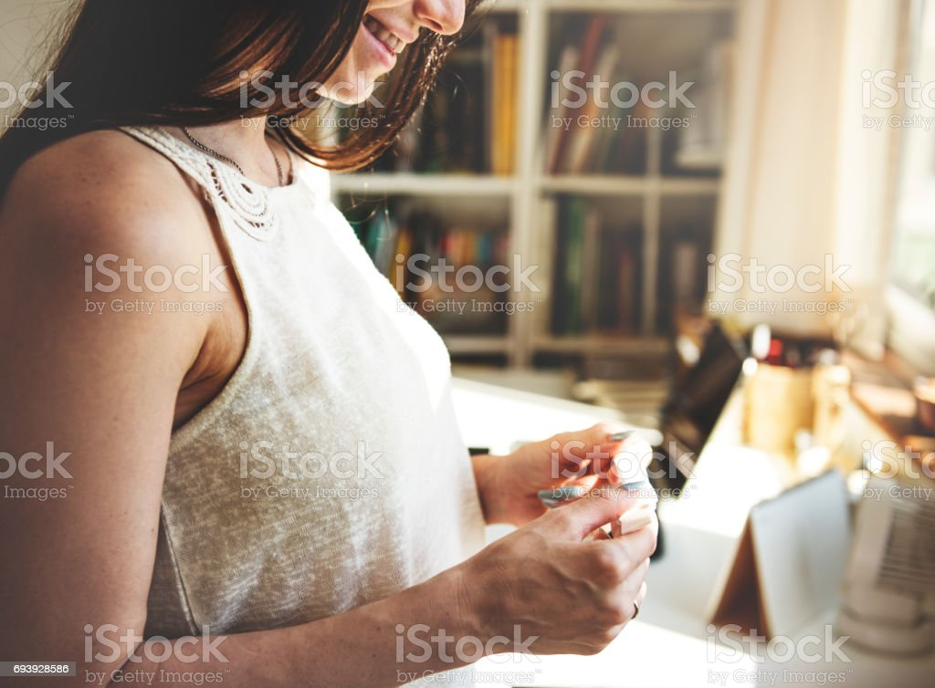 A pregnant woman is happy. stock photo