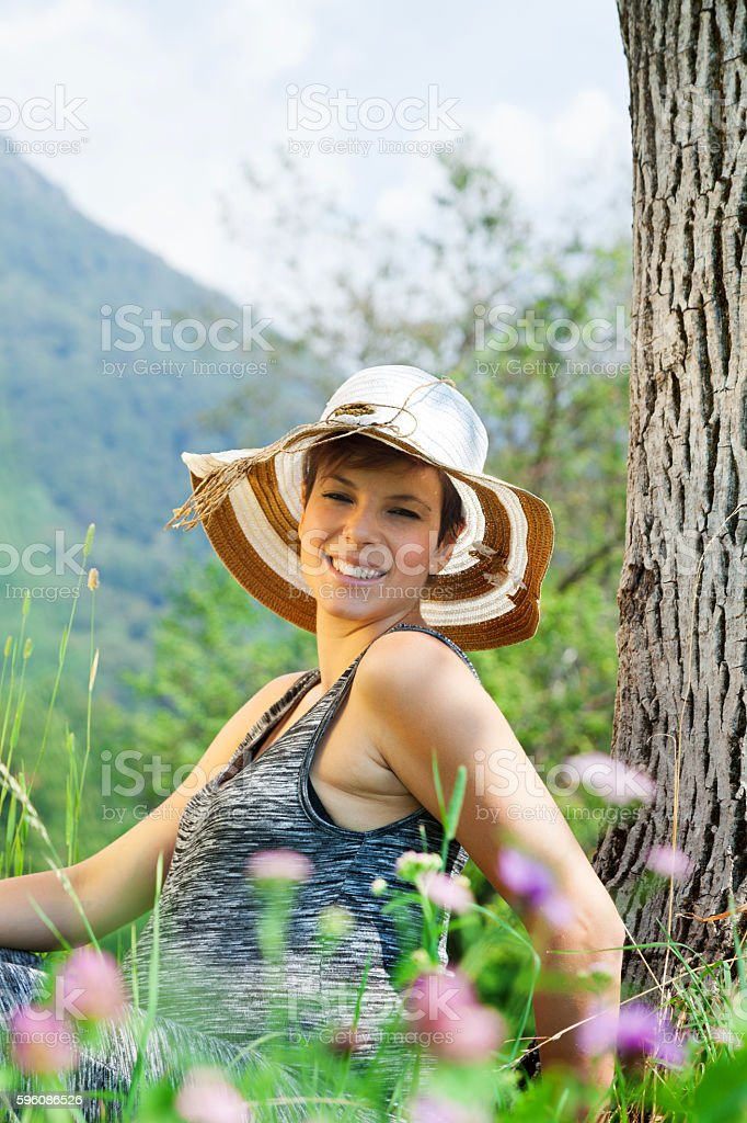 pregnant woman on meadow royalty-free stock photo