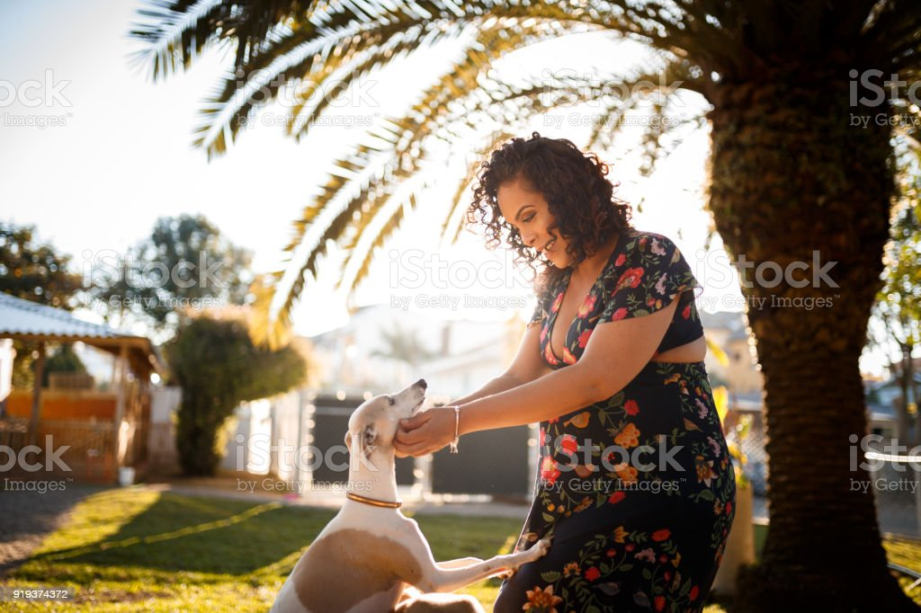 Pregnant woman playing with her dog stock photo