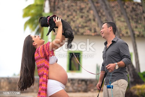 istock Pregnant woman plays with her adorable dog 1026777296