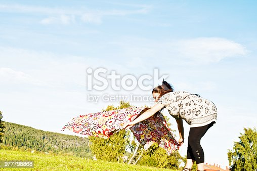 628409126istockphoto Pregnant Woman Posing With Orange Blanket In A Park 977798868