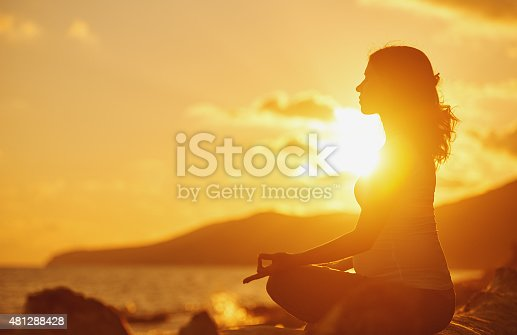 670374358 istock photo Pregnant woman practicing yoga in lotus position on beach 481288428