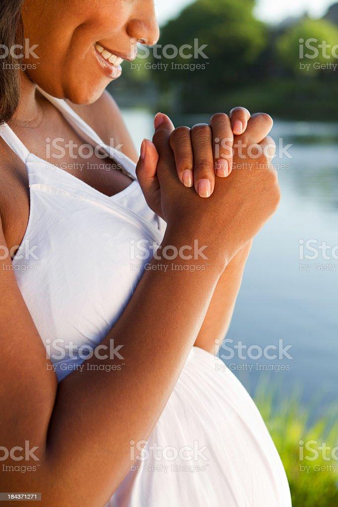 Pregnant Woman Praying royalty-free stock photo