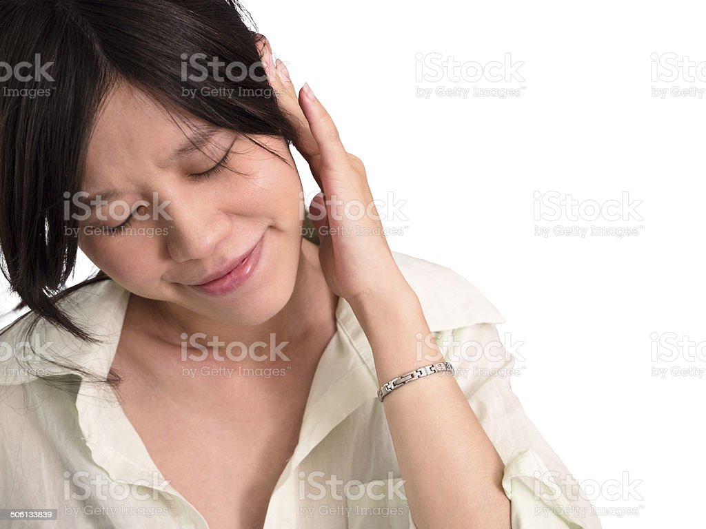 Pregnant woman suffer from tinnitus stock photo