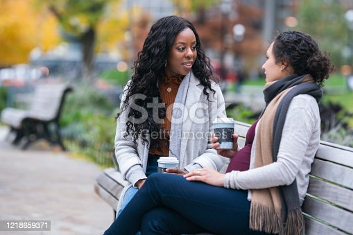 istock Pregnant woman talking with female friend while relaxing on park bench 1218659371