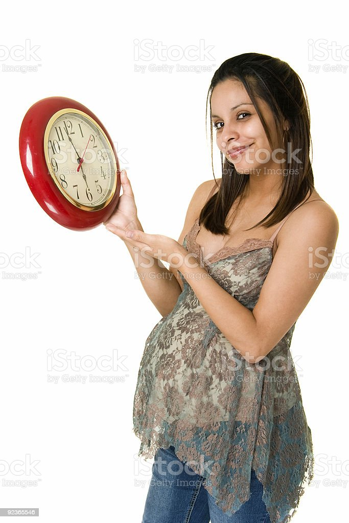 Pregnant Woman Watching the Clock royalty-free stock photo