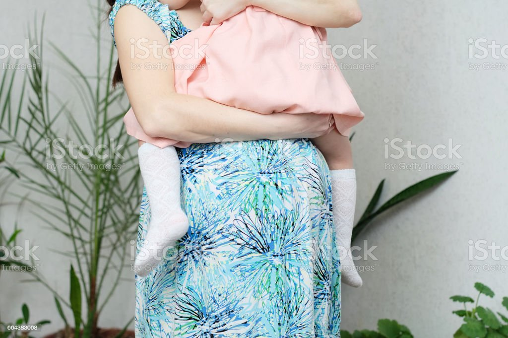 Pregnant woman with daughter. Expecting baby birth in third trimester stock photo