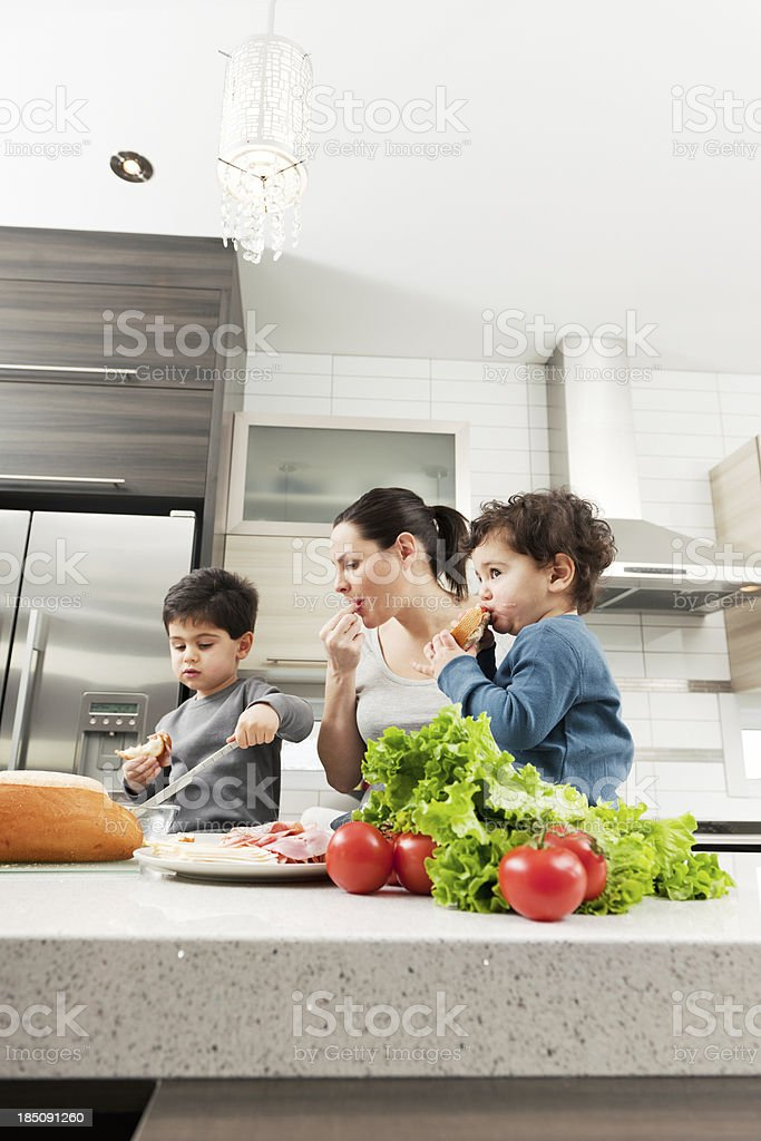 Pregnant woman with her sons royalty-free stock photo