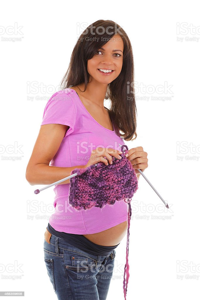 Pregnant woman with needlework royalty-free stock photo