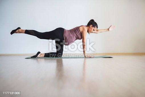 istock Pregnant women doing Pilates 1177131300
