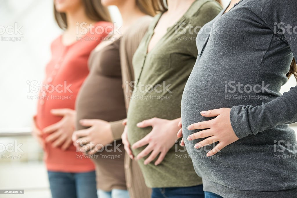 Pregnant women lined up in a row stock photo
