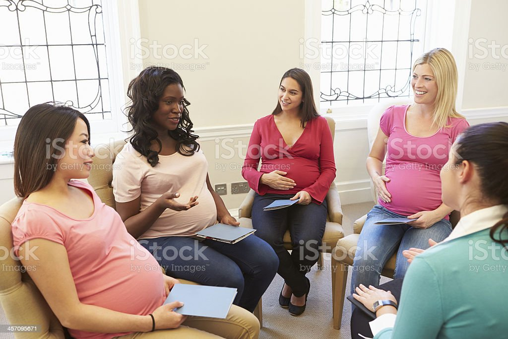 Pregnant Women Meeting At Ante Natal Class stock photo