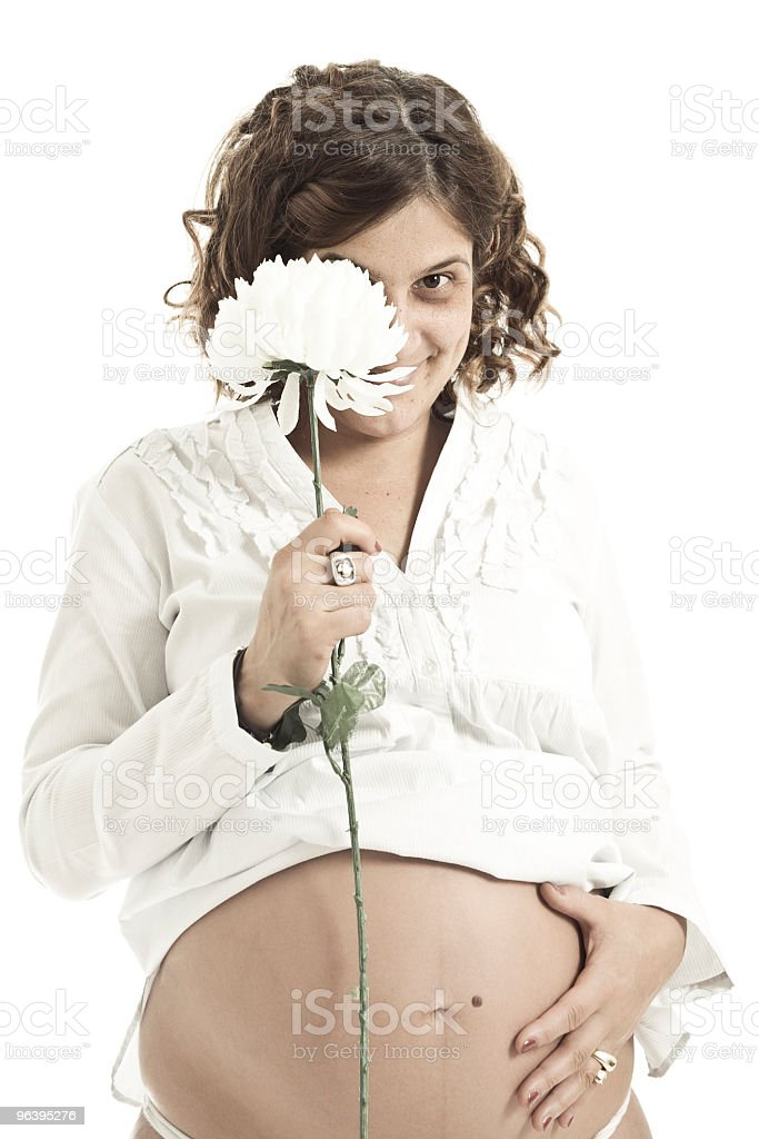 Pregnant Young Adult Woman With White Flower Isolated  Portrait - Royalty-free 30-34 Years Stock Photo