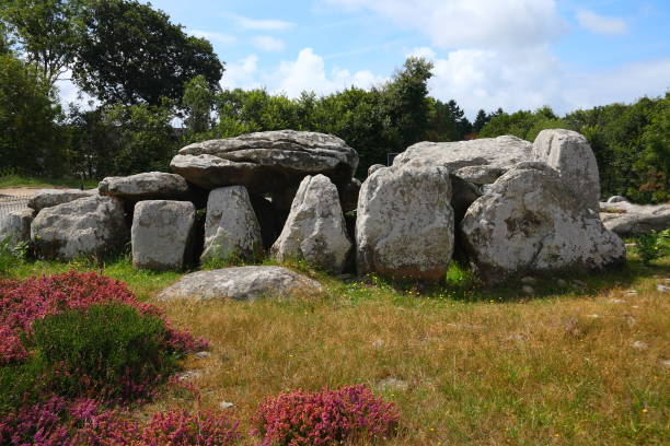 Prehistoric building - dolmen Prehistoric building - dolmen - in french Brittany. s in Carnac, France. The stones were erected during the Neolithic period, around 3300 BC. portal dolmen stock pictures, royalty-free photos & images