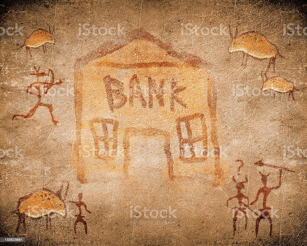 prehistoric cave painting with bank stock photo
