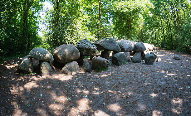 Prehistoric dolmen in The Netherlands Largest prehistoric dolmen, also called a hunebed, in The Netherlands portal dolmen stock pictures, royalty-free photos & images