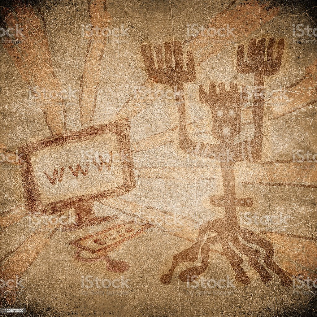 prehistoric painting with computer on line stock photo