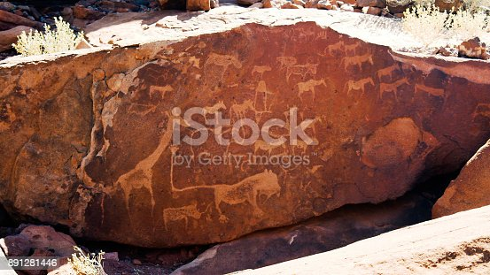 istock Prehistoric petroglyphs at Twyfelfontein archaeological site, Namibia 891281446