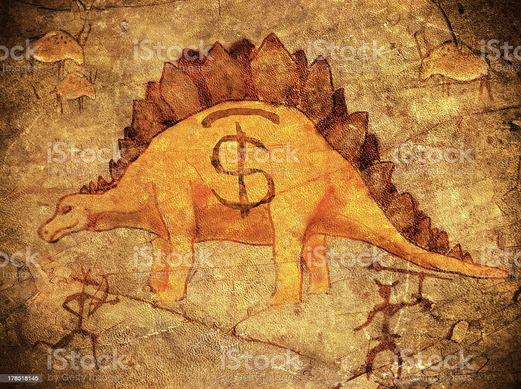 prehistoric piggy bank stock photo