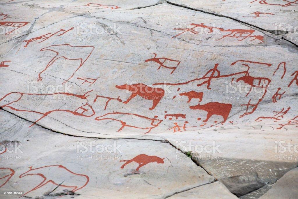 prehistoric rock carving stock photo