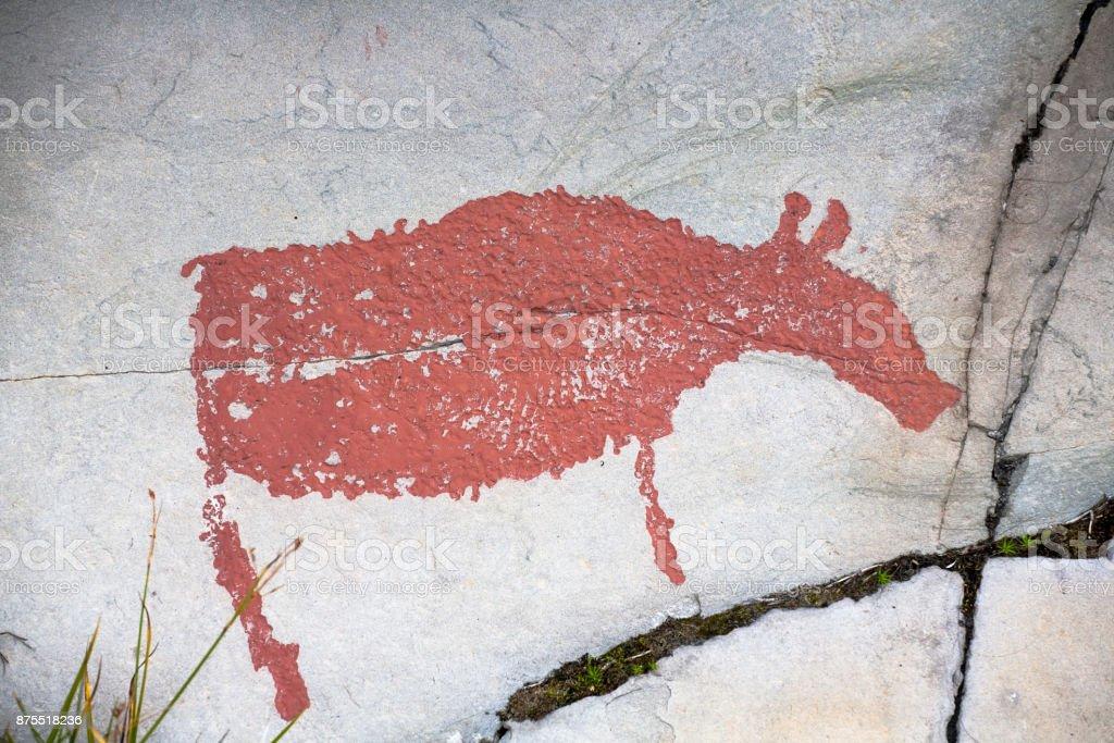 prehistoric rock drawing stock photo