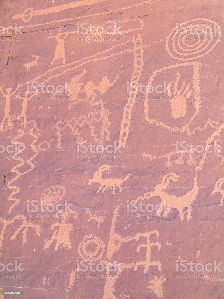 Prehistoric rock painting stock photo