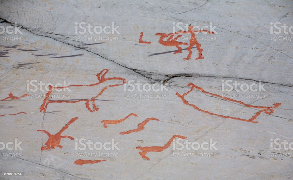 prehistoric rock petroglyphs stock photo