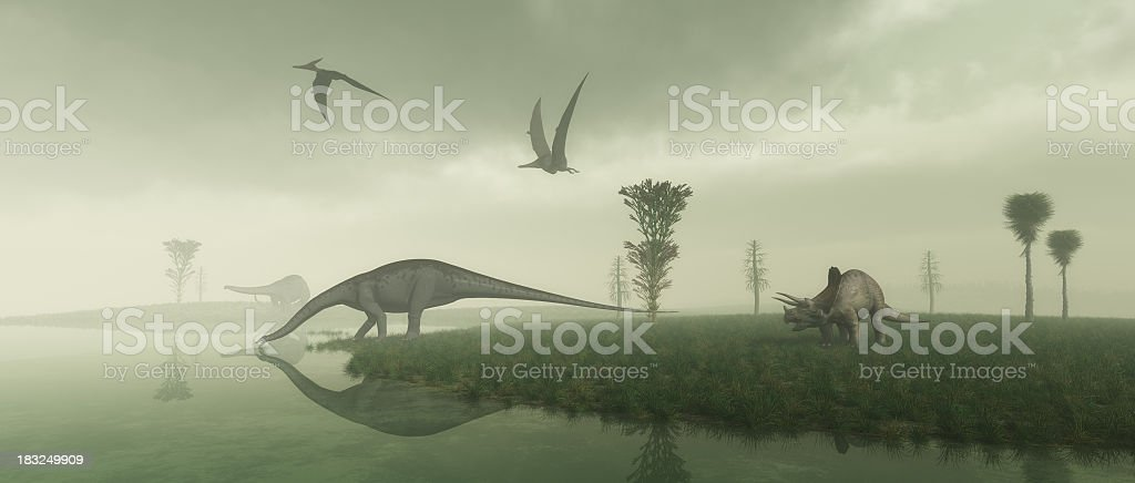 Prehistoric Scene stock photo
