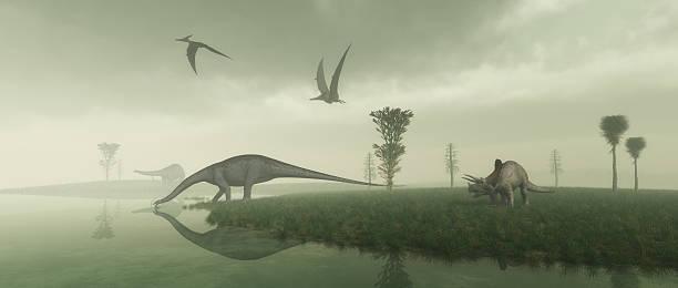 Prehistoric Scene stock photo