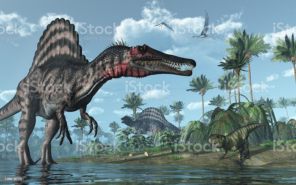 Prehistoric scene with Spinosaurus and Psittacosaurus Dinosaurs A tropical prehistoric scene with several dinosaurs, including two spinosauruses, a psittacosaurus and two dorygnathuses in flight. 3D render Digitally Generated Image Stock Photo