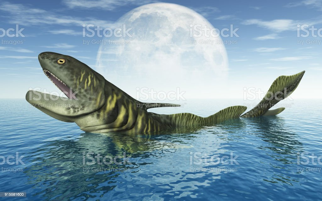 Prehistoric Shark Orthacanthus In Front Of The Moon Stock Photo