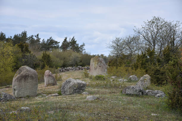 Prehistoric standing stones in a circle stock photo