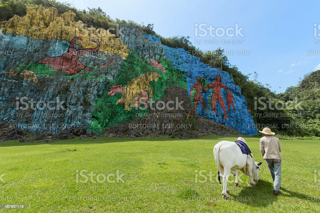 Prehistoric wall in Vinales, Cuba stock photo