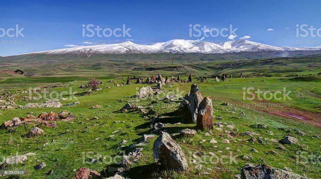 Prehistoric Zorats Karer site near Karahunj village, Armenia stock photo