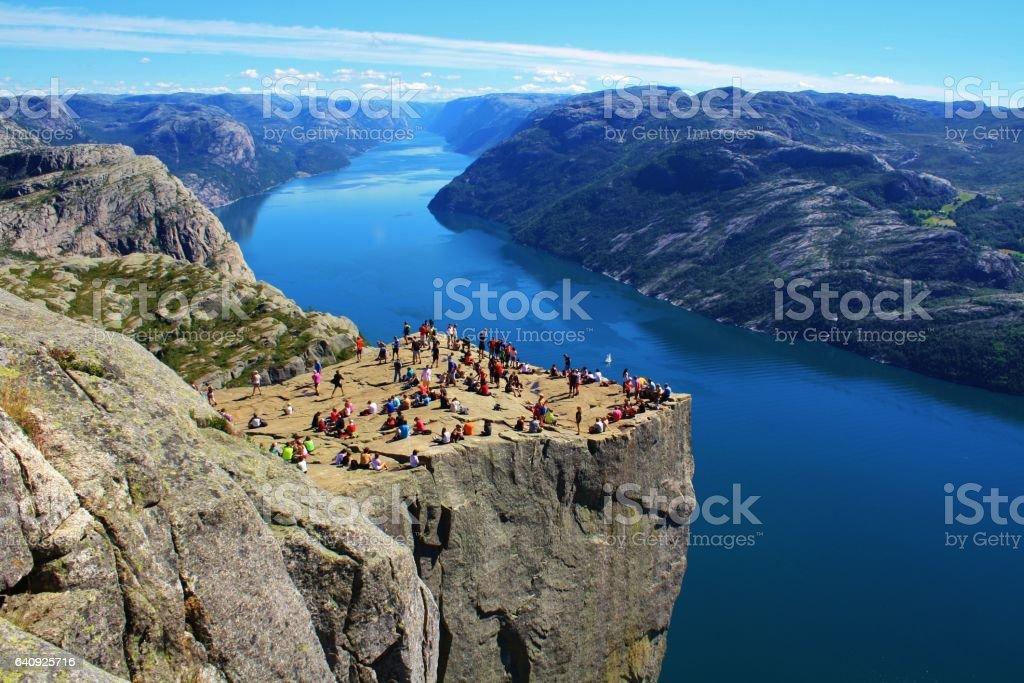Preikestolen, Norwegian Rock stock photo