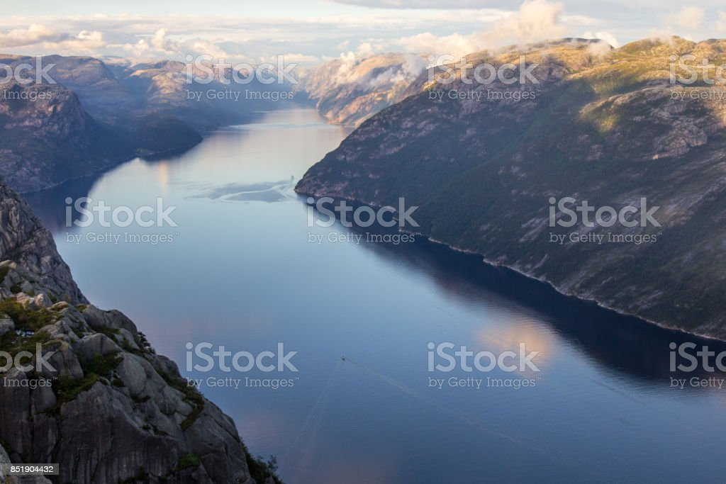 Preikestolen or Prekestolen or Preacher's Pulpit or Pulpit Rock, is a famous tourist attraction in Forsand, Ryfylke, Norway stock photo