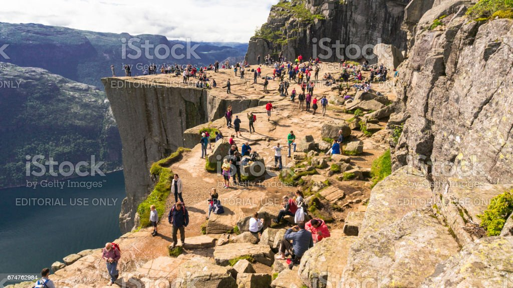 Preikestolen or pulpit rock  over the Lysefjord stock photo