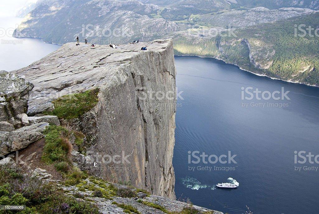 Preikestolen pulpit rock in Norway stock photo