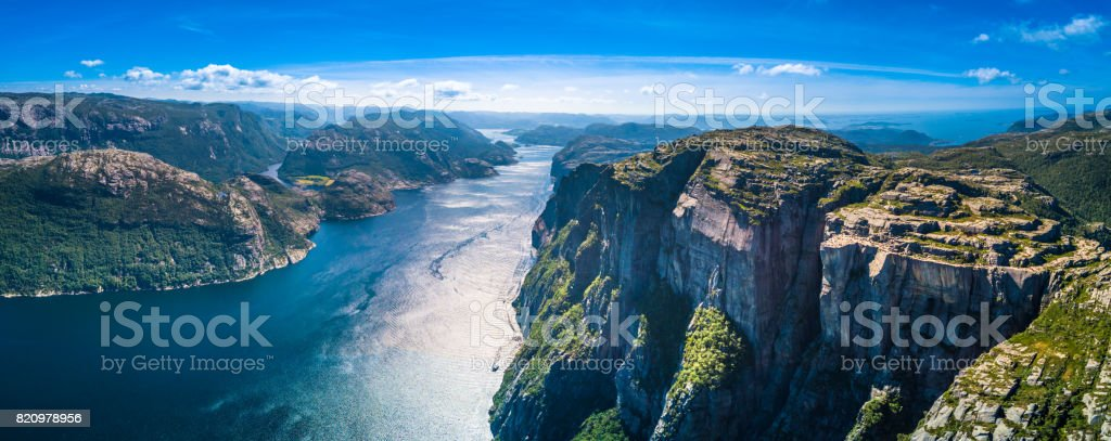 Preikestolen, Pulpit Rock, Lysefjorden, Norway. Panoramic view stock photo