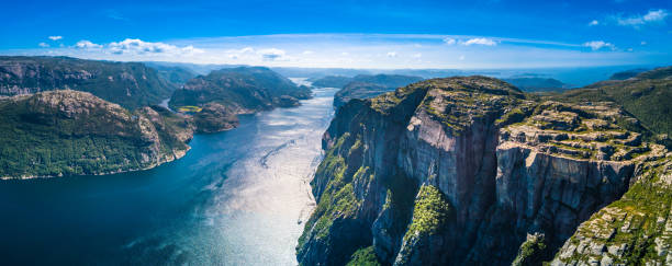 Preikestolen, Pulpit Rock, Lysefjorden, Norway. Panoramic view Preikestolen panoramic view norwegian culture stock pictures, royalty-free photos & images