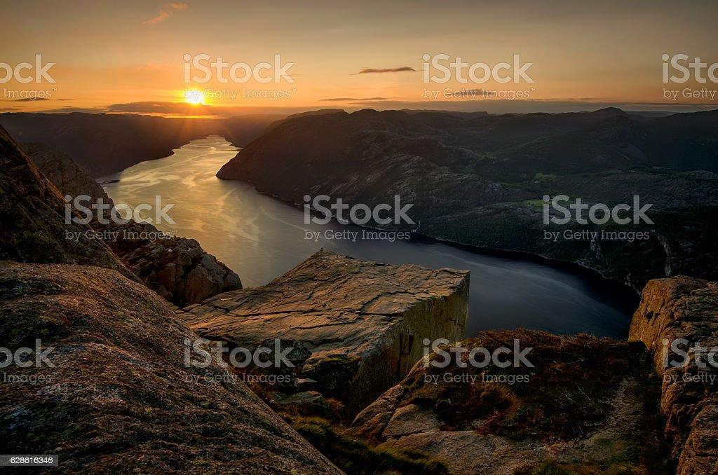 Preikestolen sunset stock photo